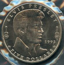 MARSHALL ISLANDS FIVE DOLLAR ELVIS PRESLEY COMMEMORATIVE COIN UNCIRCULATED