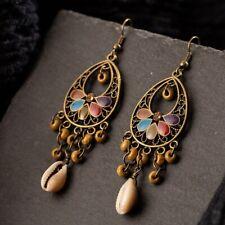 UK BOHO CHIC SHELL BEAD TASSEL EARRINGS Festival Fashion Jewellery Gypsy Tribal