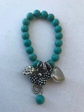 Turquoise howlite stone beaded stretchy bracelet charms metal heart bead flower