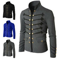 Men Gothic Jacket Steampunk Rock Frock Uniform Retro Punk Military Coat Outwear