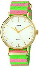 Timex Women's Weekender Tw2p91800 Gold Nylon Quartz Fashion Watch