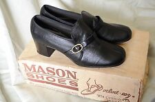 Vintage Nos 60s Women's black buckle heel shoes Mason Shoes with box 5B