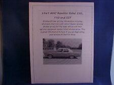 1967 AMC Rambler Rebel fact cost/dealer window sticker prices for car/options $$