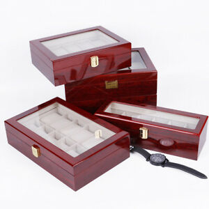 2/3/5/6 Slots Red Watch Box Display Case Organizer Wood Glass Storage Box Solid
