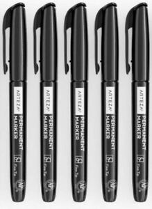 Arteza Markers (Pack of 5) Permanent Black Fine Tip Bullet Point Pens UK Stock