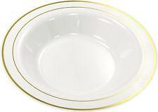 """20 x Mozaik Deep Plastic Disposable Bowls White With Gold Rim 9"""" 23cm Pasta Soup"""