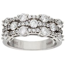 QVC Diamonique Ring Band Cubic Zirconia Sterling Silver Triple Row Size 5