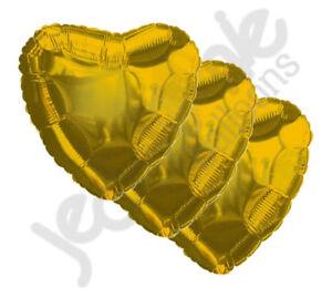 "3 pc - 18"" Solid Gold Heart Balloon Wedding Baby Bridal Shower Birthday Luau"