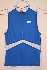 Louis Garneau Pro Sleeveless Zip Men's Jersey Size XL White/Blue 1820484 NEW
