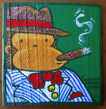 Fedora Ape with Cigar, Original Painting on Found Wood