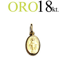 medaglia ciondolo regalo MADONNA MIRACOLOSA oro 18kt. 750/1000 comunione cresima