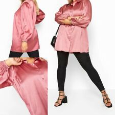 NEW RRP £21.99 Ex Yours Rose Pink Satin Balloon Sleeve Shirt