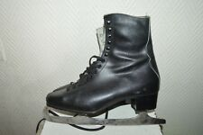 PATIN A GLACE PATINAGE NAO FRANCE LEATHER  ICE SKATE TAILLE 42  CUIR  VINTAGE