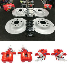 VW TIGUAN SPORT TDI BRAKE DISC FRONT REAR DRILLED GROOVED MINTEX PADS + CALIPERS