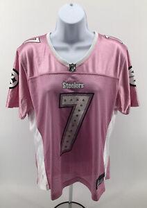 Ben Roethlisberger #7 Pittsburgh Steelers Womans Jersey Sz Large Pink RBK Reebok