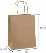 25 PC 8x4.25x10.5' Brown Kraft Paper Bag Party Shopping Gift Bags with Handles