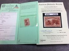 U.S. $2 COLUMBIAN Scott # 242 Stamp APA APEX Certified - Genuine  & Not Hinged