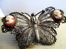 VICTORIAN REVIVAL 800 STERLING SILVER FILIGREE AND CAMEO ACCENT BUTTERFLY