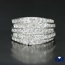 Ring & Cocktail Ring 14K White Gold Large 1.70 Ct Round Cut Diamond Right Hand