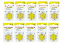 ZENIPOWER HEARING AID BATTERY A10 SIZE 10 PACK OF 10 CARDS OF 6 = 60 BATTERIES