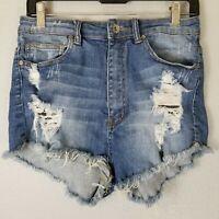 Machine Distressed Denim Booty Shorts Large Hi Rise Stretch Pockets