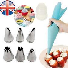 * vendedor del Reino Unido * 6 Boquillas De Glaseado De Acero Inoxidable + bolsa de tuberías de Silicona Reutilizable Pastel