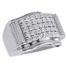 Mens 925 Sterling Silver Pave Genuine Diamond Designer Fashion Pinky Ring 1/5 CT