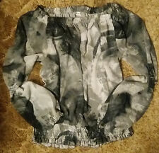 Loren D. Abstract Design Black-Gray-White Long Sleeve Shirt Blouse Size: XL