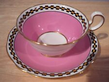 Aynsley Teacup & Saucer set Pink & black & Yellow check border