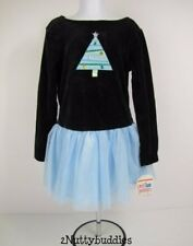 SWEET POTATOES NWT BLACK VELOUR BLUE TULLE JEWELED CHRISTMAS TREE DRESS 6 R-$53