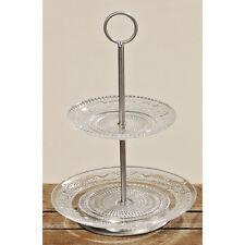 Etagere Glas 30cm 2 Ebenen Gebäckteller Servierteller schale Tortenständer