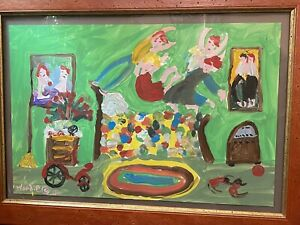 Signed WOODIE LONG (1942-2009) American Folk Art PAINTING 2002 Framed FAMILY FUN
