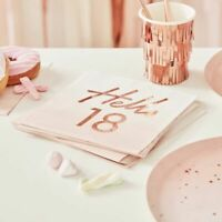 18th birthday Napkins Pink Ombre Rose Gold Frils Party Decorations Milestone Age