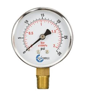 "2-1/2"" Pressure Gauge - Chrome Plated Steel Case, 1/4""NPT, Lower Mnt. 30 PSI"