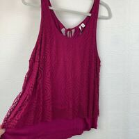 LC Lauren Conrad Lace Floral Tank Top XL Pink Overlay Sleeveless Lined A187