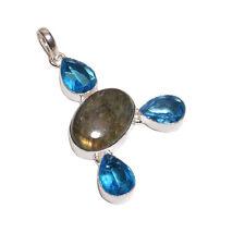 Plata De Ley 925 Capa Topacio Azul & Labourite Piedras Collar Con Colgante