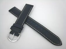 22mm Curved End Navy w/ Beige Stitch Extra Long Leather Watch Strap #220352