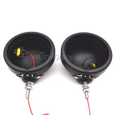 2x 4-1/2 LED Black Passing Lights Housing Covers Fit Harley Electra Glide Ultra