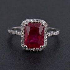 Natural Diamond Emerald Cut Red Ruby Engagement Halo Ring Solid 14K White Gold