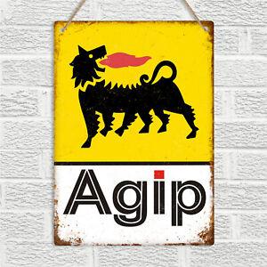AGIP Racing Fuel Oil Metal Wall Sign Retro Vintage Pub Bar Man Cave Garage Car