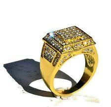 Zirconia Luxury Band Ring Wedding Gift Ring Hip Hop Yellow Gold Men's Ring Cubic
