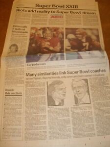 January 1989 Redding Record Searchlight Front Sport Page - Super Bowl XXIII