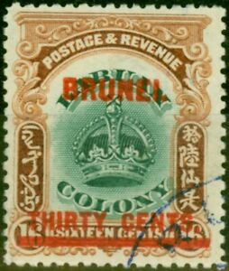 Brunei 1906 30c on 16c Green & Brown SG20 Very Fine Used