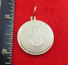 """14 KT GOLD EP LARGE(OVER 1"""") ROUND INITIAL DISC LETTER S PENDANT CHARM"""