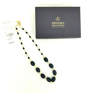 Brooks Brothers Navy Blue Gold tone Necklace One Size NWT