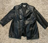 Preston & York Leather Jacket Black  Womens Size PL (petite large). EUC