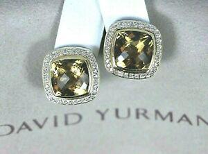 $2,600 David Yurman Albion 18K Gold Silver Champagne Citrine Diamond Earrings