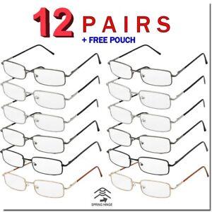 READING GLASSES SPRING HINGE MENS WOMENS METAL FRAME VALUE 12 PACK READERS BULK