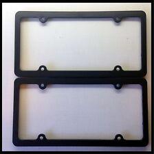 Black Blank License Plate Frame Set Thin Plain Plastic Cover Tag Holder JDM Car
