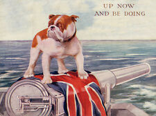 BULLDOG DOG GREETINGS NOTE CARD PATRIOTIC DOG STANDS ON UNION JACK AND CANNON